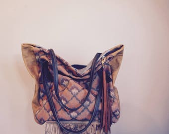 NEW ///Josephine Tote in Vintage Southwestern Textile with Oil Tanned Leather Tote Straps