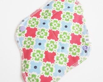 Cloth Mama Pad / Reusable Cloth Pad - Regular Flow  - Pink Blue & Green Printed 8 Inch FREE Shipping