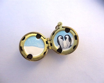 RESERVED for Shiane - Penguin Pair Hand-Painted Locket