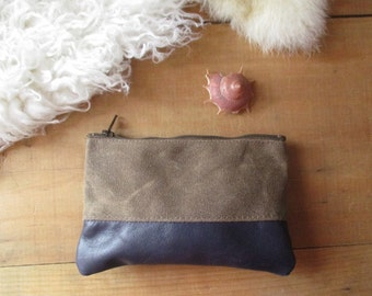 Leather and Waxed Canvas Zipper Pouch Purple Leather classic Style clutch small handheld Hippie Carryall zip bag case Simple Boho Chic