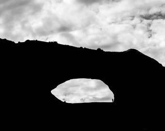 Utah Arch Silhouette, Utah Arch Landscape photograph, Black and White Photograph, Utah Photography, Western landscapes