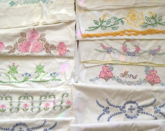 20 Vintage Embroidered Pillowcases Lot of Pillowcases