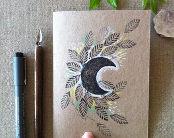 Moon and Leaves Hand Printed and Hand Coloured Artisan Gift Card on Recycled Kraft Card