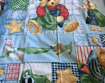 """Cotton Panels with Teddy Bears 36"""" x 44"""" NEW"""