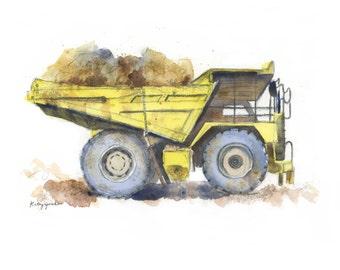 Yellow Dump Truck #4 for boys - Monster Dump Truck - Kids Construction Print - Watercolor Print