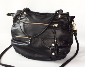 XL Okinawa leather bag in black