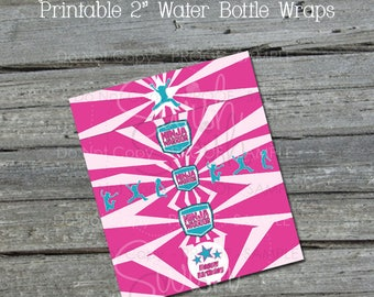 American Ninja Warrior Water Bottle Labels   Water Bottle Wraps  Pink Blue    Gymnastics Party   Digital Download   INSTANT DOWNLOAD