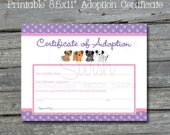 Puppy Paw-ty Adoption Certificate  | Certificate of Adoption Digital Download | Puppy Party | Print and Fill in the blank | Instant Download