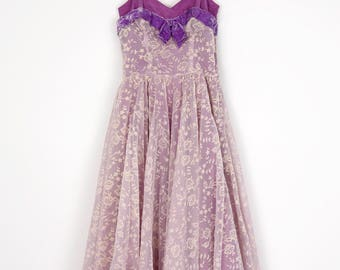 Purple Printed Party Prom Dress