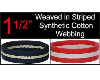 """5 Yards - 1 1/2"""" - Synthetic COTTON Webbing, NAVY Blue or RED with White Stripe, 1.5, Medium Heavy Weight"""