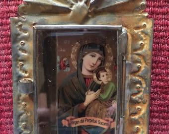 Vintage tin nicho with Virgen