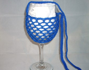 Wine Glass Holder Necklace sling lanyard cozy cooler crochet Turquoise Blue Ready To Ship