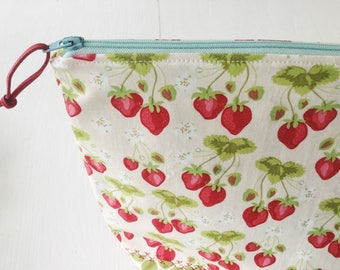 Strawberry patch project bag/ knitting project bag/ craft bag / cosmetics bag / multi-purpose bag