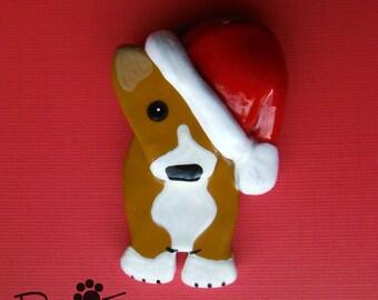 Pembroke Welsh Corgi Santa Brooch Ornament. Artist Hand-Made OOAK Dog Art. Christmas.