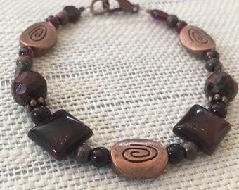 Garnet, Copper & obseidian bracelet