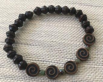 Stretchy Copper Swirl Bracelet