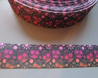 Sugar Skulls Day of the Dead Calaveras Grosgrain Ribbon x 1 metre