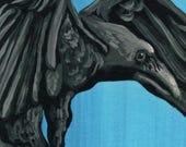 ACEO ATC  Raven Crow Bird Original Gouache Painting Wildlife Art-Carla Smale
