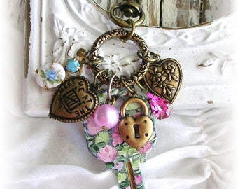 Brass Bag Charm Purse Pull Zipper Charms Vintage Key Hand Painted Roses Puffy Heart Charm Cameo Blue Flowers Shabby Chic Pendant Upcycled