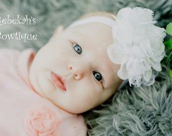 Flower headband, white headband, white baby headband, flower hair clip, hair bows for girls, wedding headband, shabby flower headband, boho