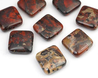 9 pcs red brecciated jasper beads, square flat red brown black semiprecious stone 15mm