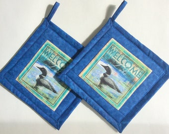 Welcome to the Lake Loon Potholders, Loon Pot Holders, Blue Fabric Pot Holders, Loon Hot Mats, Loon Hot Pads, Bird Lover, Arthritis Aid