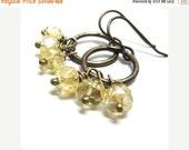 ON SALE Citrine earrings hoops, November birthstone, jewelry citrine dangles, brass earrings, yellow hoops, gemstones citrine, birthstone je