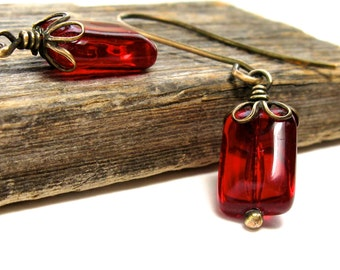 Poppy red brass dangles, bright red earrings, Valentines Day, red jewelry, Czech glass, rectangle glass bead, antique look, under 20