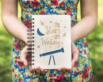 The Stars are Waiting - Lasercut Wood Journal