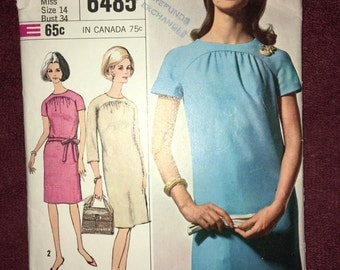 "Vintage CUT Complete - 1966 Day Princess Dress Sewing Pattern by SIMPLICITY #6485 Size 14 Bust 34"" Lowered Round Neckline w/ Raglan Sleeves"