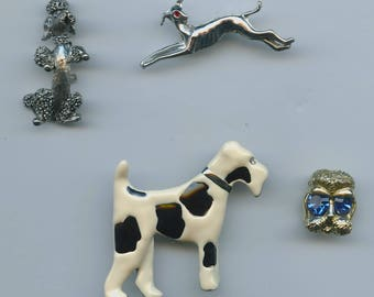 Vintage Dog Theme Brooches Set Of 4 Greyhound Poodle Airdale 2 Signed