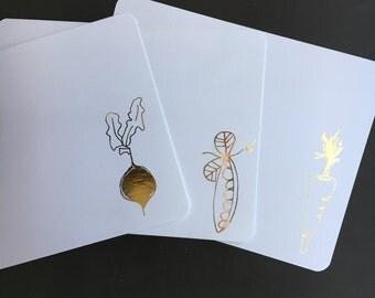 vegetable gold foil flat note cards