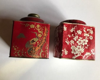 vintage mixed lot 2 tins floral pattern one made in England  red Asian pattern  Daher two tins