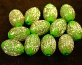 Vintage GLITTER BEADS LUCITE Lime Green Gold 12x8mm pkg 12 res144