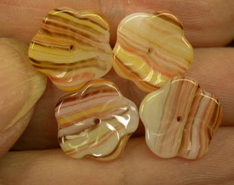Vintage Glass Beads German AMBER IVORY Striped FLOWERS 12mm pkg 4 gl168