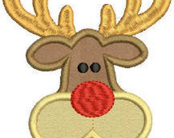 Machine Embroidery Applique Reindeer Design pes dst emb sew hus Auto Download