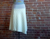 Womens Skirt in Cream and Gray Pinstripe Wool Twill with Organic Bamboo Stretchy Waistband -  Fall Fashion, Office, Winter Skirt, Elegant