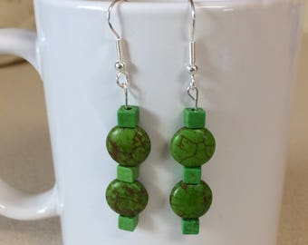 Green turquoise howlite earrings