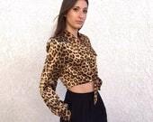 Vintage 1980's silky leopard crop top