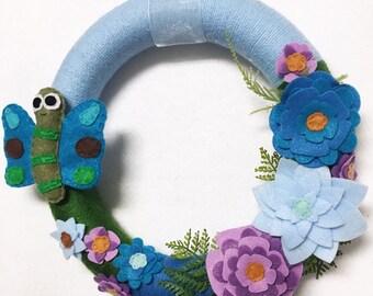 Butterfly Wreath, Summer Wreath, Teal, Green, Lavender, Flower Door hanger, Hostess Gift, Housewarming, Wall Art, Wall Hanging