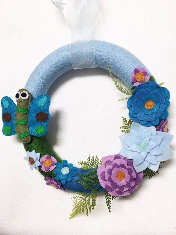 Butterfly Wreath, Summer Wreath, Teal, Green, Lavender, Flower Door hanger, Hostess Gift, Housewarming, Wall Art, Wall Hanging
