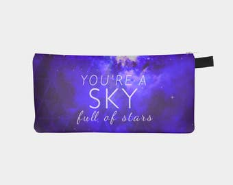 galaxy and stars carry-all pouch- coin purse- small purse- quote- song lyrics- purple and white- typography- pencil case- night sky