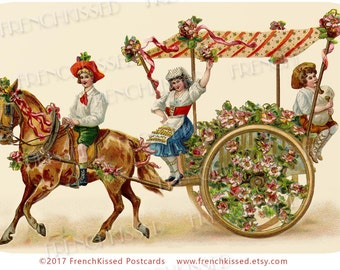 Horse and Carriage Red Orange Striped Canopy Children Roses Antique French Postcard