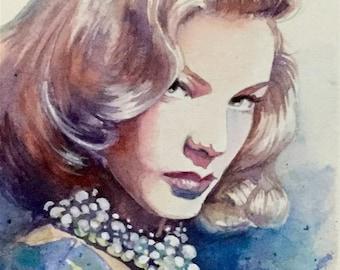Lauren Bacall original watercolour painting