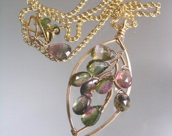 Watermelon Tourmaline 14k Gold Filled Leaf Pendant, Wire Wrapped Gemstone Necklace, Deep Green and Pink, Artisan Made, Original Design