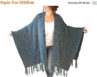 20% WINTER SALE Chuny Blue Boucle & Wool Poncho with Fringe by Afra