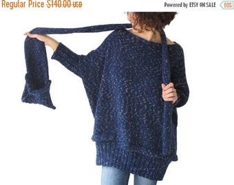 CLEARANCE 50% 20 Percent SALE! Tweed Blue Over Size Sweater with Pocket Scarf by AFRA Sweater - Scarf Set Plus Size
