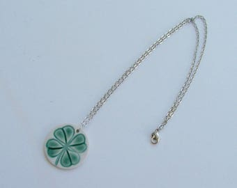 Handmade Porcelain Pendant with Chain, Four Leaf Clover