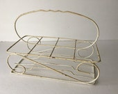 Vintage Wire Drink Caddy Chippy Creamy white Shabby Garden Party Decor