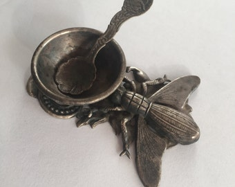 Antique Salt Cellar with Tiny Spoon Unusual Insect Gothic Bee Fly
